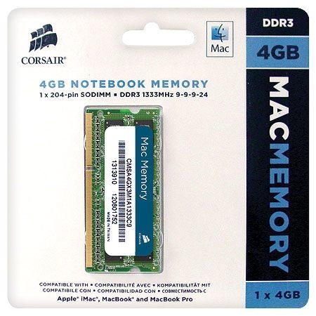 CORSAIR 4GB DDR3 1333MHz notebook CMSA4GX3M1A1333C9 MAC kompatibilis